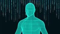 Menselijk hologram en de digitale achtergrond van het Japanse alfabet