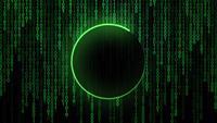Linha de carregamento verde neon e fundo digital de código binário
