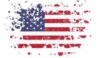 Den fjärde juli amerikanska semestern flagga avslöjar med färgborste stänk mask