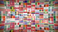 World Countries Flag Icons With Lens Fx Background Loop