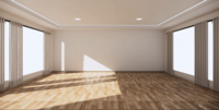 Grote kamer met twee grote planken aan de zijkanten