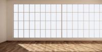 Habitación vacía moderna con una pared de ventana y piso de madera