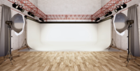 Ein weißer Hintergrund und eine Lampe in einem modernen Raum für ein Fotoshooting