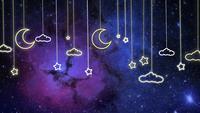Nuages suspendus lumineux lunes et étoiles