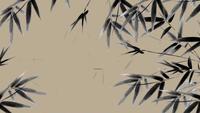 Feuilles de bambou se balançant sur un fond gris