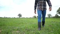L'avant du fermier en bottes de caoutchouc sur un champ vert