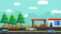 La pequeña gasolinera en los suburbios
