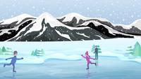 Eislaufen auf dem gefrorenen See