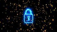 Cerradura digital de seguridad con símbolos de dólar, euro, yen, yuan, libra