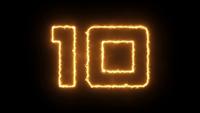Countdown-Timer 10 Sekunden Bewegen mit Feuereffekt