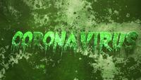 Text Coronavirus on dark green background