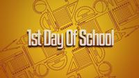Texto 1er día de clases y elementos escolares.