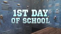 Text 1st Day of School over School Locker Room