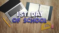 Escribe el primer día de clases con un portátil y una computadora portátil