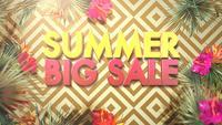 Tekst zomer grote verkoop en bloemen met blad