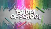 Text 1st Day of School and Colorful Chalk on Blackboard