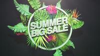 Tekst zomer grote verkoop en tropische bloemen
