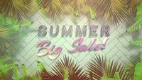 Summer Big Sale on tropical background