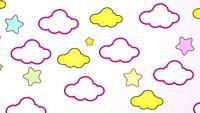 Abstrakte kawaii bunte Himmelswolke und Sternenhintergrund
