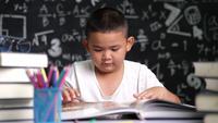 Un niño abre y mira un libro.