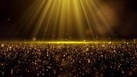 Licht scheint auf Goldstaubpartikel