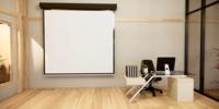 Animación de escritorios de oficina y pizarras blancas