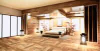 Dormitorio grande con diseño de madera