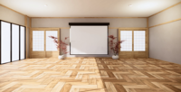 Whiteboard in einer großen Raumanimation