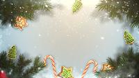 Winter background with branches and toys