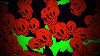 Crânes rouges tombant