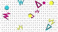 Formas geométricas de Memphis sobre fondo blanco.