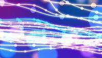 Golvende gloeiende lijnen en bokeh-deeltjes