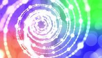 Weiß gepunktete glühende dünne Linien und Bokeh, die in den Spiralen schweben