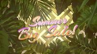 Grande vente d'été et feuilles tropicales