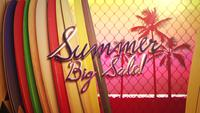Text Summer Big Sale und Surfbretter