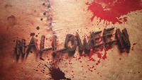 Texto de Halloween em fundo de terror