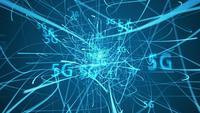 5G-Verbindung mit blauen Telekommunikationsleitungen