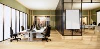 Grön interiör av ett stort kontor