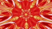 Mandala de caleidoscopio, ornamento fractal degradado amarillo-naranja iridiscente