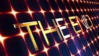 3D THE END Flickering Golden Text
