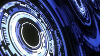 Perspektiv futuristisk teknikrörelse roterande blå HUD-redskap