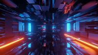 Futuristische drempel met reflecties op wand en vloer
