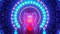 Partikelfarbene Neonwelle in Bewegung
