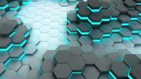 Fondo de celdas hexagonales de neón. Animación. Representación 3d