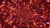 Rood melkwegwormgat met oranje deeltjes naar camera