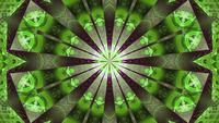 Loop vj com padrão de caleidoscópio verde com lindas luzes de néon rosa