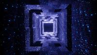 Magisches Tunnelkorridorloch mit leuchtend blauen Neonlichtern