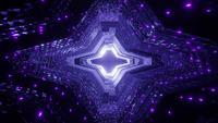 Leuchtende Neonpunkte auf einem futuristischen außerirdischen Raumschiffstunnel