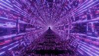 Túnel de luces de neón abstracto brillante con aspecto técnico de hud