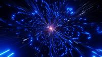 Glowing blue neon light rays sparkling particles wormhole